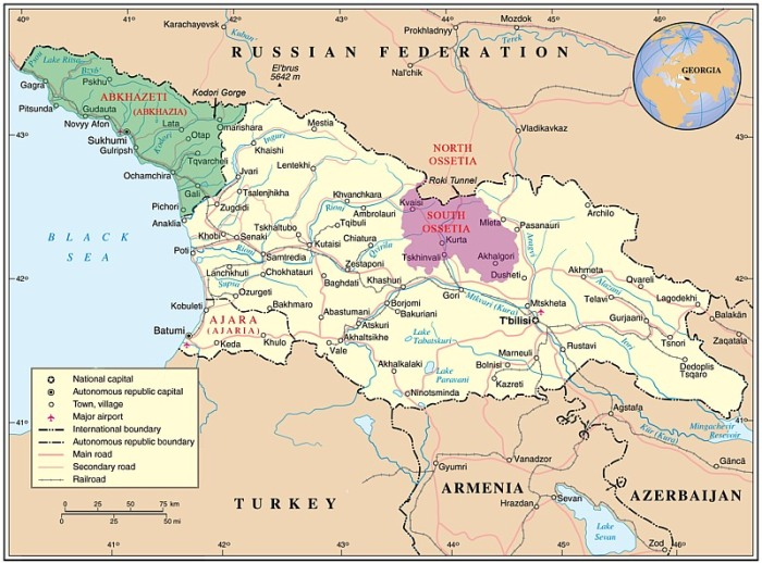 Russia - Georgia Map (highlighted South Ossetia)