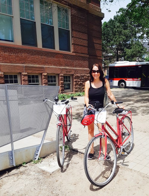 Posing with the bikes in front of Artscape Youngplace