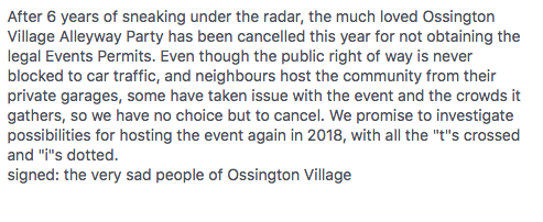 Alley Party Cancelled Message