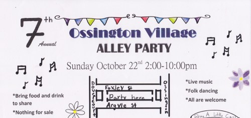 Ossington Village Alleyway party poster