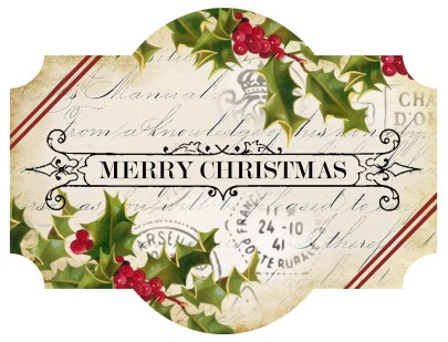 Label ~ Merry Christmas ~ holly striped ~ lilac-n-lavender
