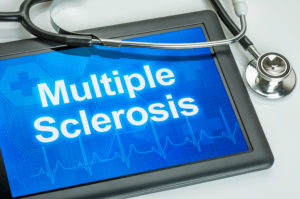 Tablet with the diagnosis multiple sclerosis on the display