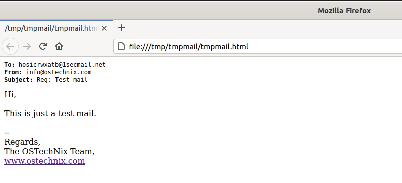 Read emails in Firefox using tmpmail