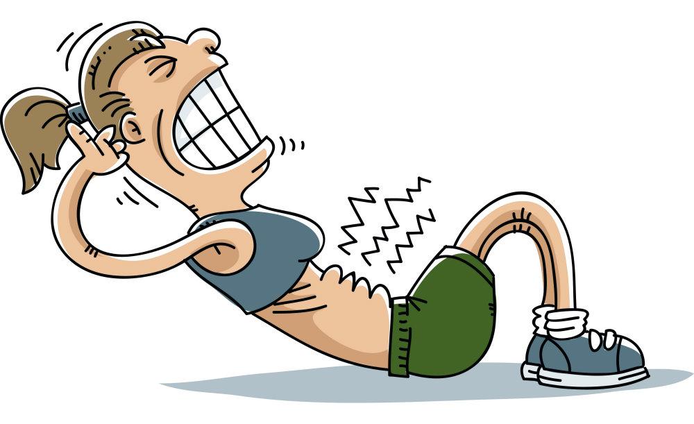 Dessin clipart d'une femme qui force en faisant des crunchs, ce qui est délétère pour le dos et le périnée. Les abdominaux de Gasquet permettent de renforcer la capital abdominaux en toute sécrutié pour le dos et le périnée.