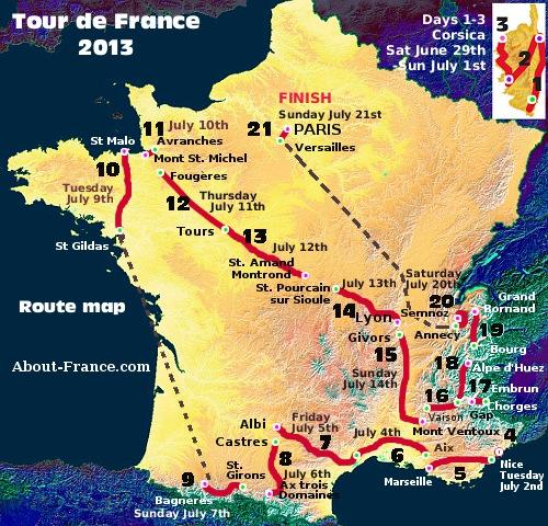 Tour de France 2013 - ruten