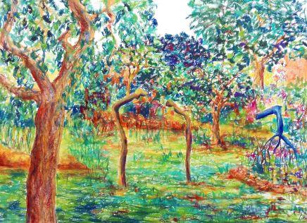 Paradiesgarten II, Pastelle auf Bütten, 40 x 53 cm, 2021