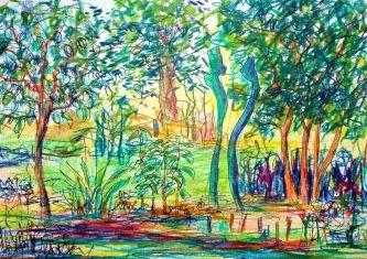 Paradiesgarten III, Poloychromos und Tuschestift auf Papier, 10,5 x 21 cm, 2021