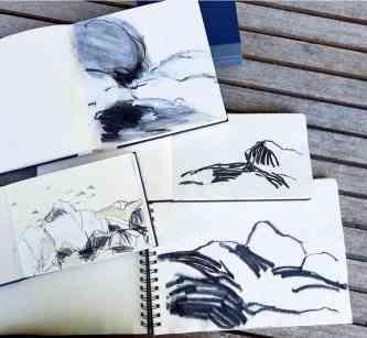 Gabi Dahl, Zeichnungen,Aufenthalt Stove