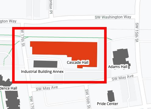 Map showing Cascade Hall, Oregon State University