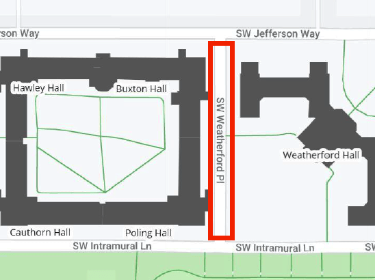 SW Weatherford Place closure area map