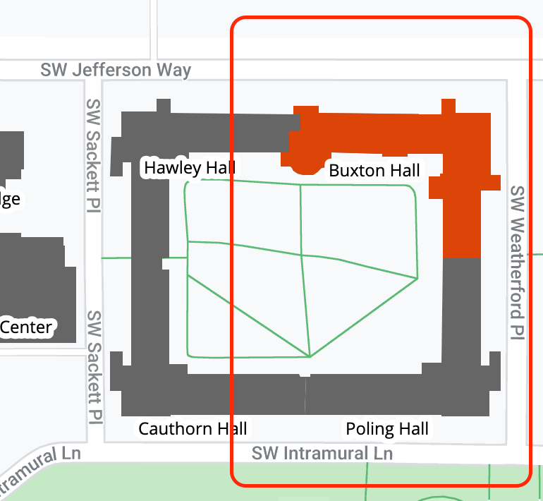 Buxton Hall and SW Jefferson Way area map
