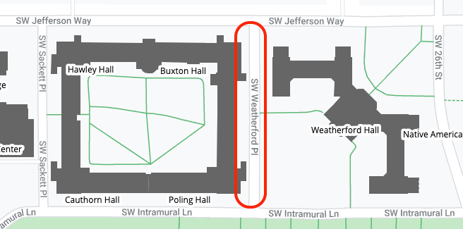 SW Weatherford Place area map