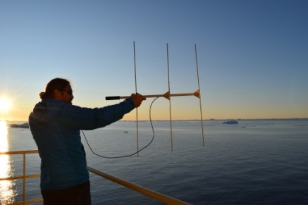 Ari scanning the horizon for the humpback carrying a suction cup tag