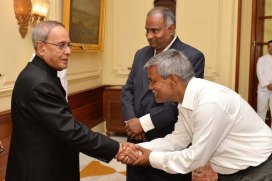 ISI Director Bimal Roy greets President Pranab Mukherjee.