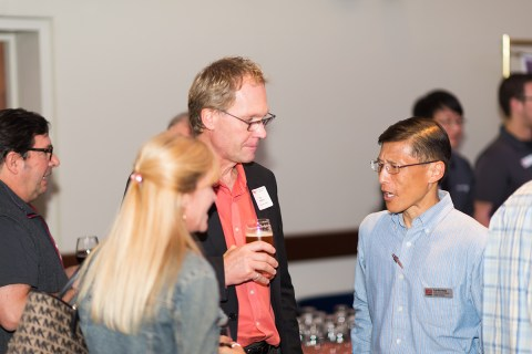College of Science Dean Roy Haggerty (left) in conversation with Projects & Events Manager Tze-Yiu Yong