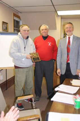 Supervisor Stephen J. Stelmashuck and former Supervisor Frank House presented Dale Chapman with a plaque recognizing his years of service to the Town of Parish as Town Councilor. 1997-2009