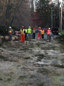 Charles Marks at work with members of the 102nd Engineers from Binghamton, on North Lake Rd. All photos by Kris Bateman and Charles Marks.