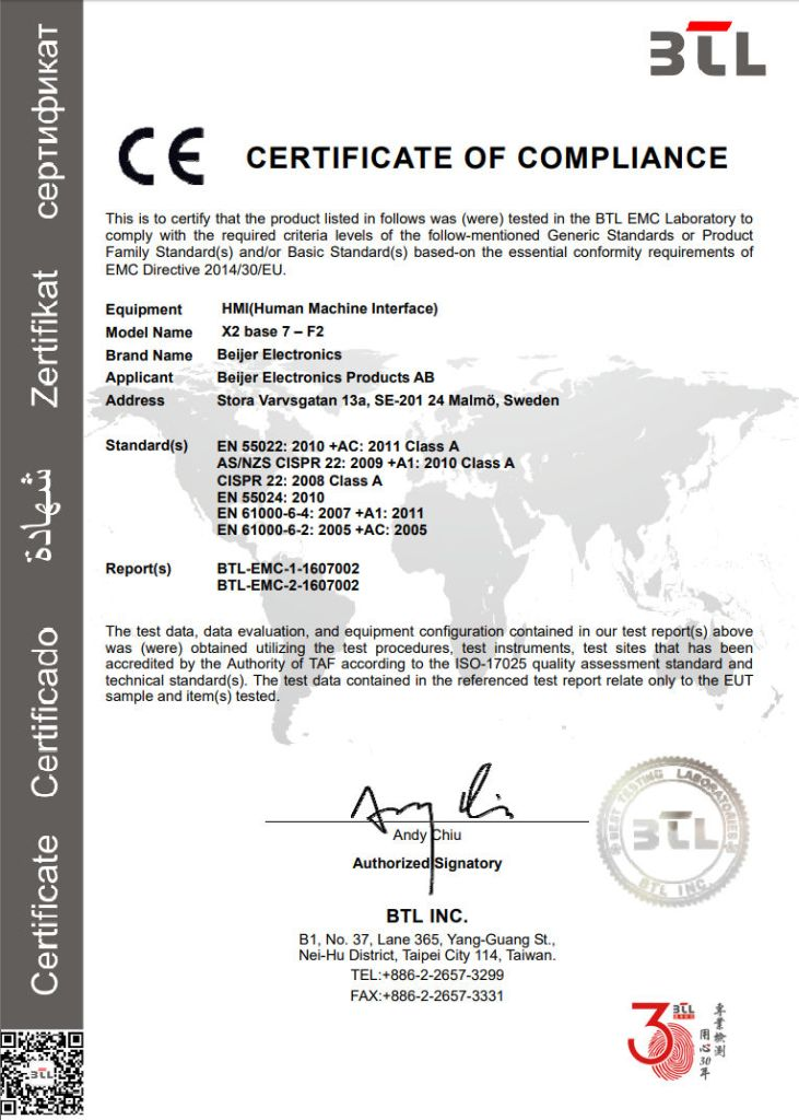 BTL Certificate of Compliance