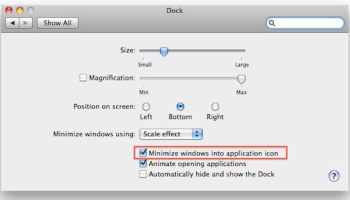 Reduce Dock Clutter in OS X by Minimizing Windows Into Their App Icons