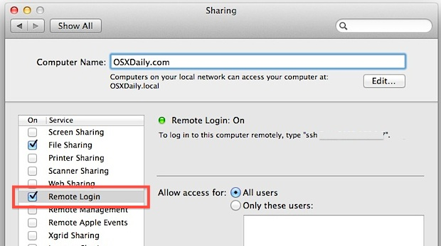 Enable SFTP Server in Mac OS X Lion