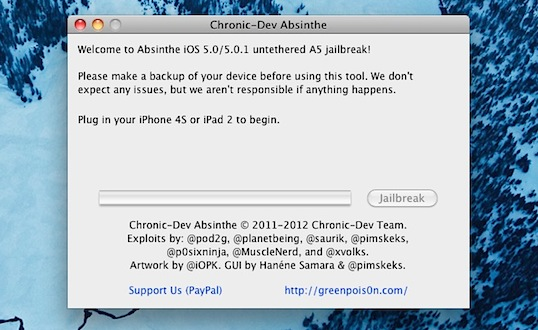 Absinthe 2.0 iPhone/iPod Touch/iPad Jailbreak Mac OS X/Windows