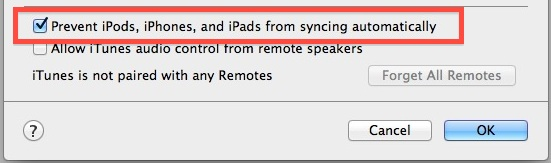 Disable Automatic Syncing in iTunes