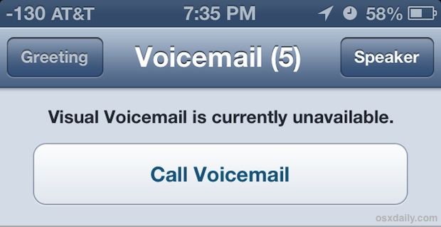 Visual voicemail unavailable error