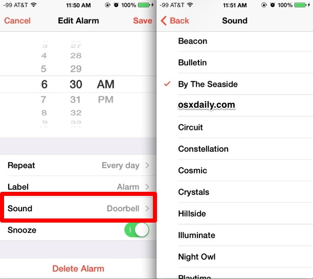 How to change my alarm sound on iphone 8