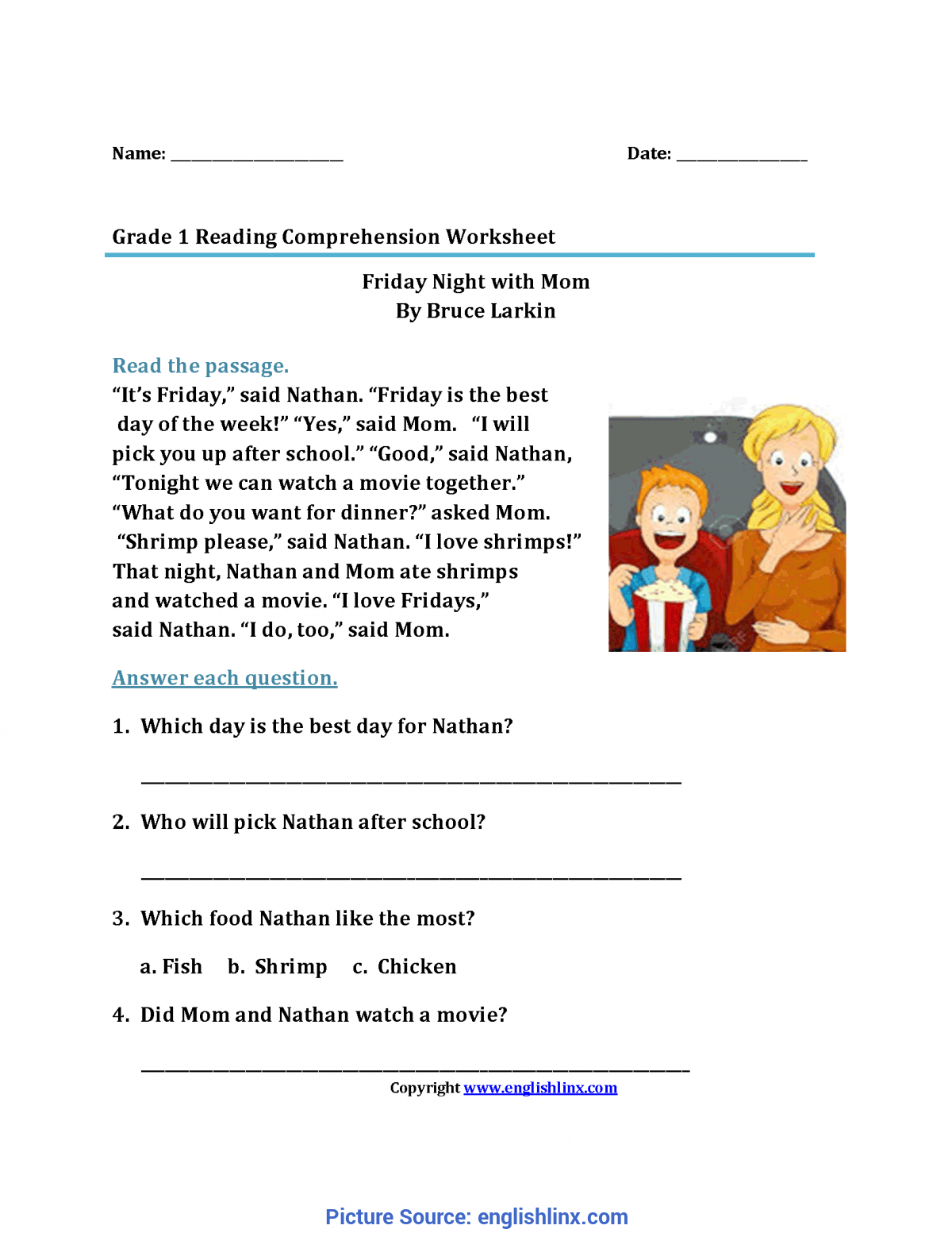 Complex 1st Grade Reading Comprehension Reading Worksheets