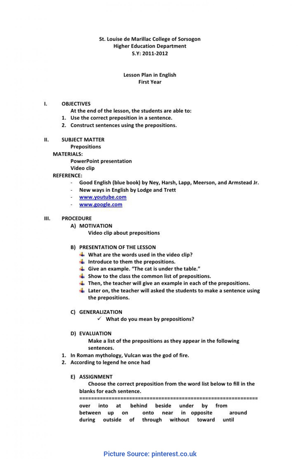 Best School Age Lesson Plan Template For Daycare Preschool