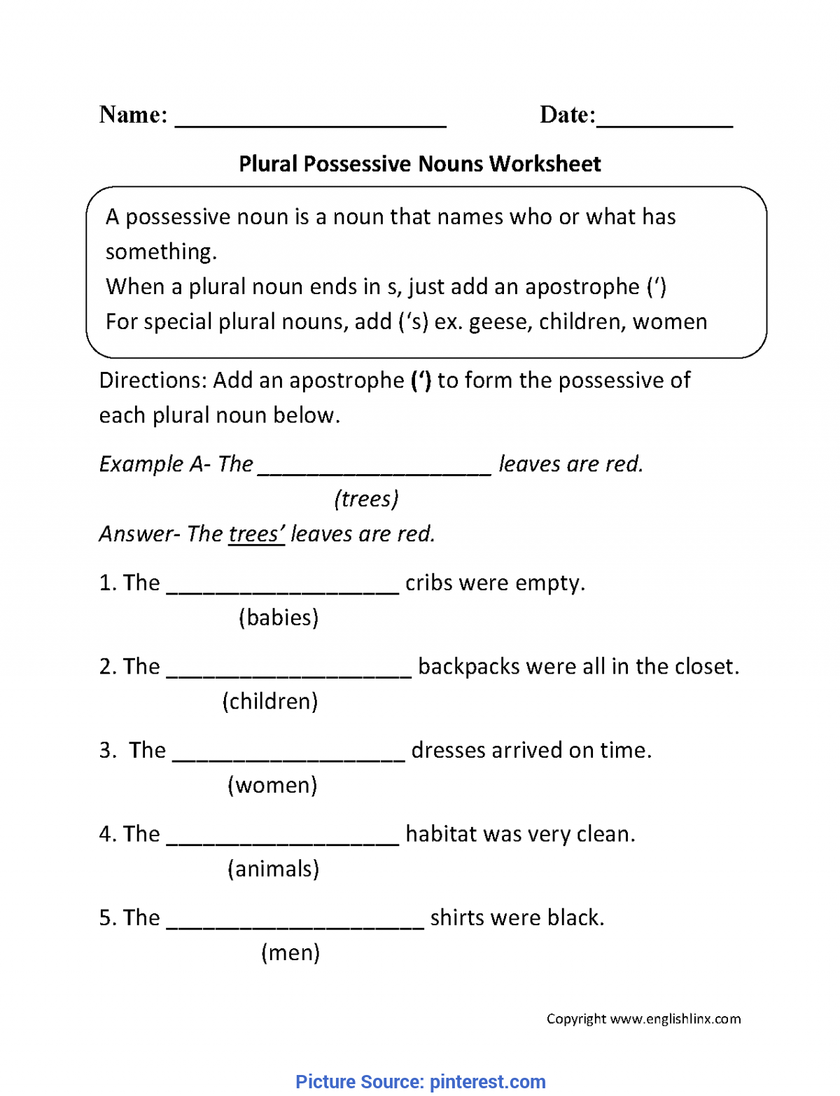 Great 2nd Grade Lesson Plans On Nouns Plural Possessive