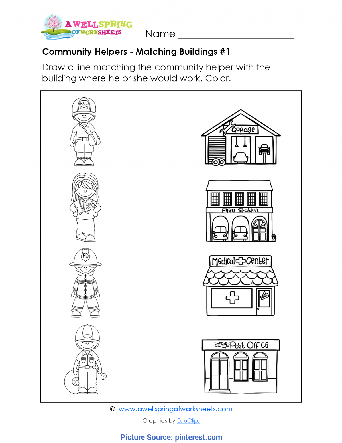 Interesting Community Helpers Matching Worksheet Community