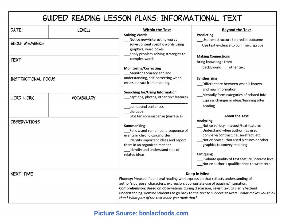 Simple Lesson Plan Example 4th Grade Worksheets For All
