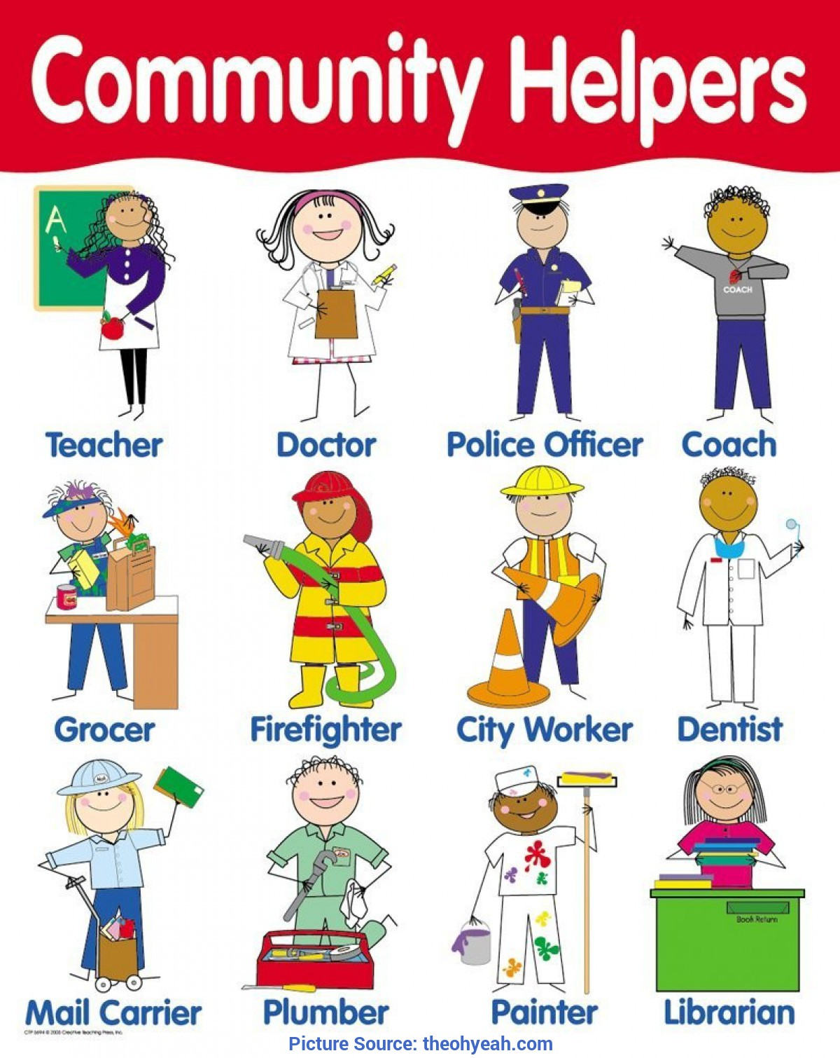 Simple Social Helpers Pictures Chart Community Helpers