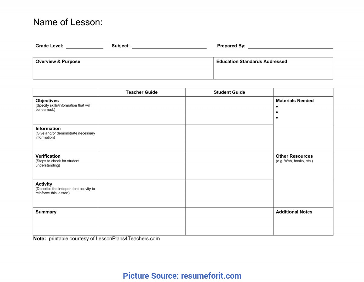 Typical Lesson Plan Example Doc Daily Lesson Plan Template