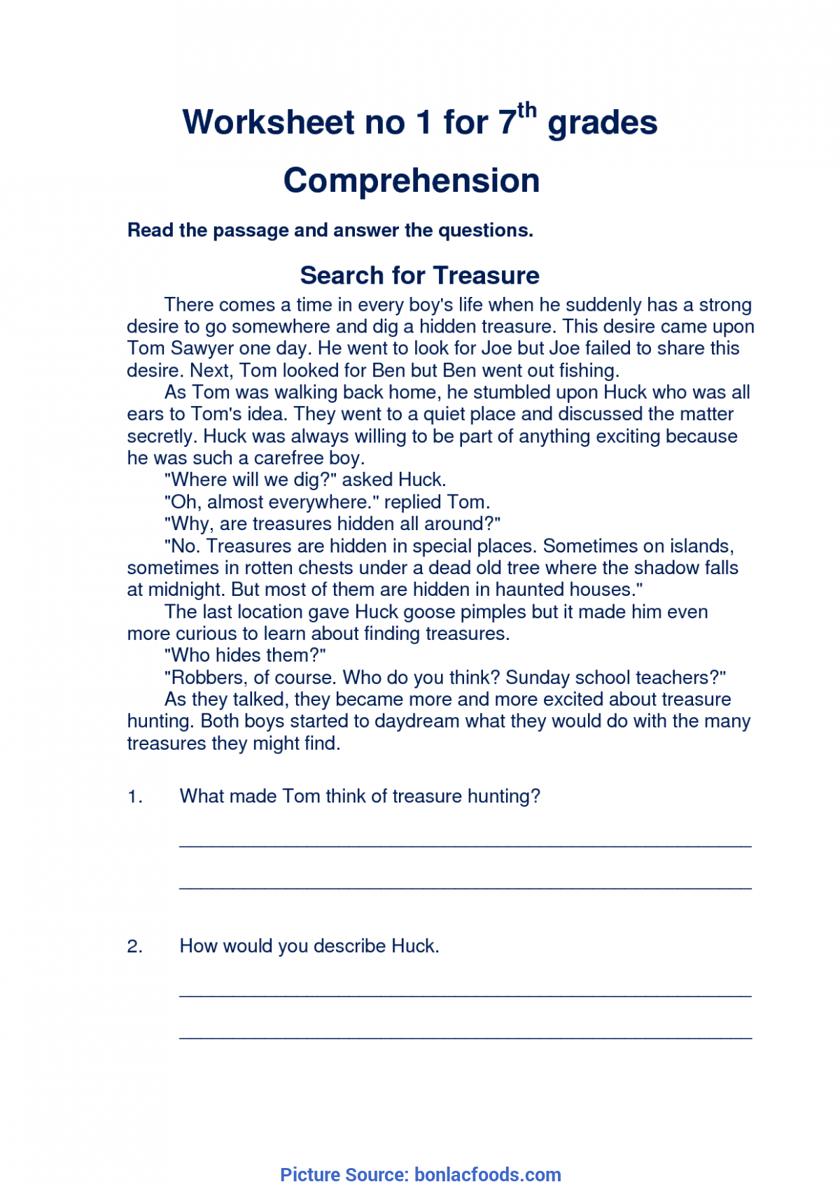 English Comprehension Worksheets 6th Grade