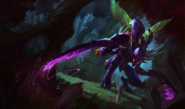 A imagem mostra o campeão Kha'Zix de League of Legends. Otageek