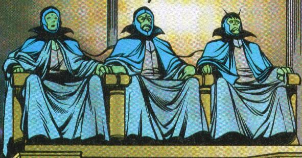 Três seres espaciais ilustrados sentados em três poltronas