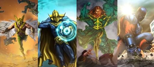 Gavião Negro, Senhor Destino, Ciclone e Esmaga-Átomo Universo DC - otageek