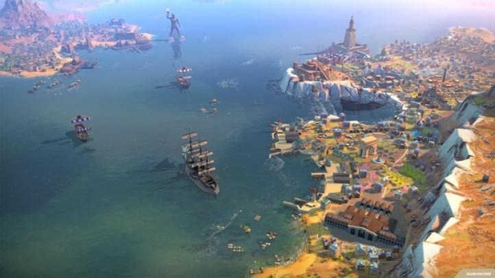 Uma cidade e navios em volta no jogo Humankind