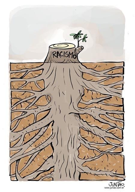 Um troco cortado de uma árvore, escrito racimos, abaixo vemos raízes resistentes e profundas da arvore