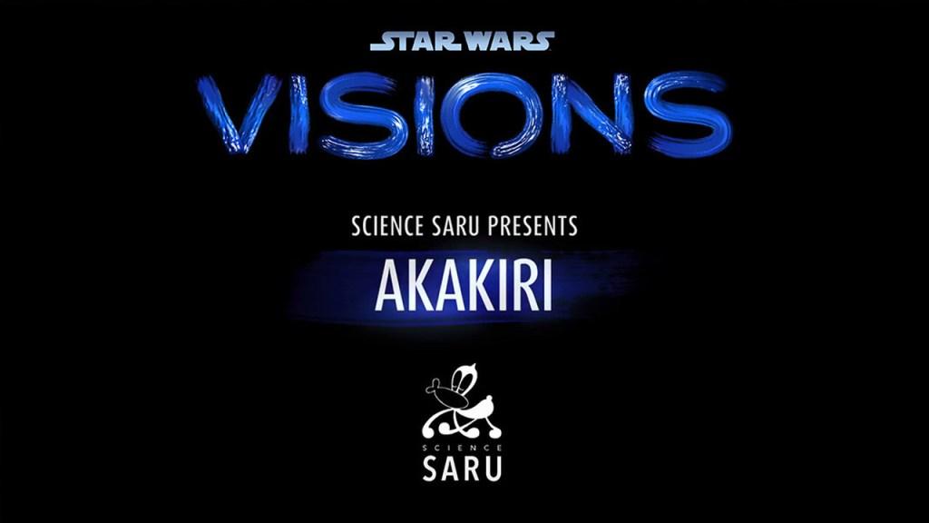"Logo da série Star Wars: Visions, apresentando oepisódio ""Akakiri"" da produtora Science Saru."