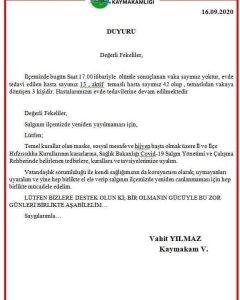 FEKE KAYMAKAMLIĞINDAN COVİD-19 RAPOR VE RİCASI