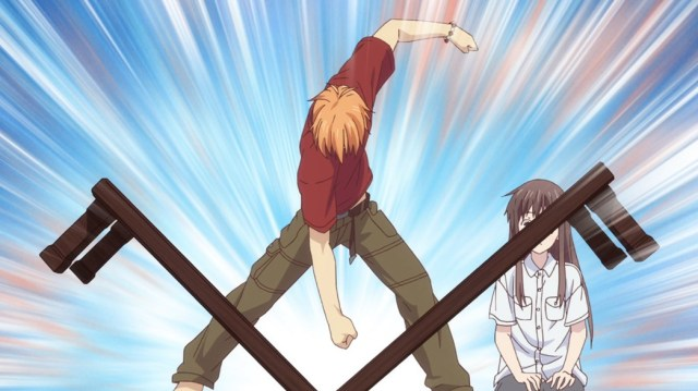 Fruits Basket Episode 2 Kyo breaking a table