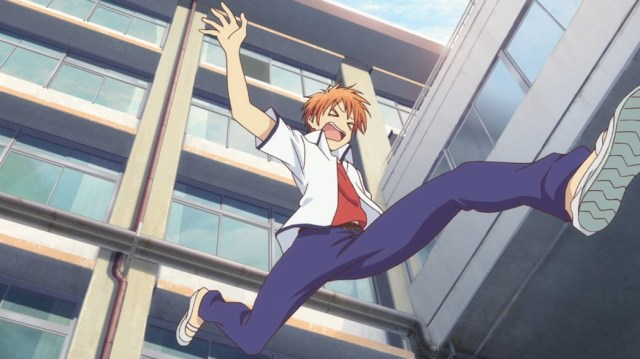 Fruits Basket Episode 2 Kyo leaping from fourth floor window