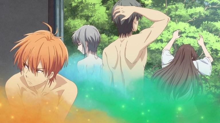 Fruits Basket Episode 2 Tohru Honda with Shigure Yuki and Kyo transforming back nude