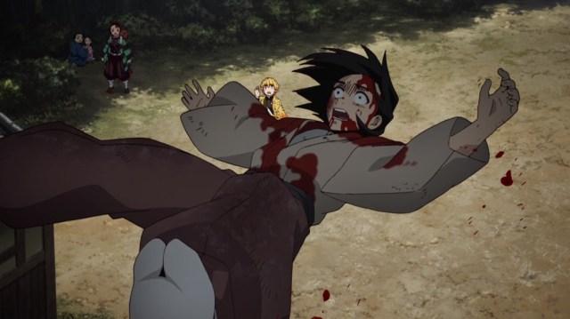 Demon Slayer Kimetsu No Yaiba Episode 11 Guy Falls Out Of Demon House
