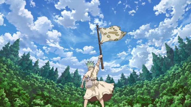 Dr Stone Episode 6 Senku Waves The Flag