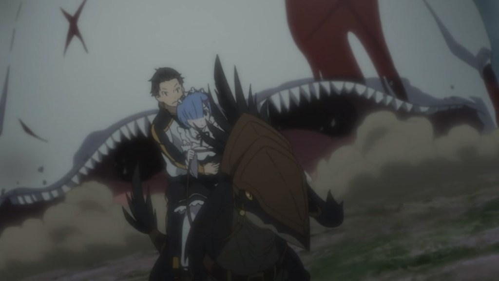 Re Zero Rem and Subaru Running from White Whale