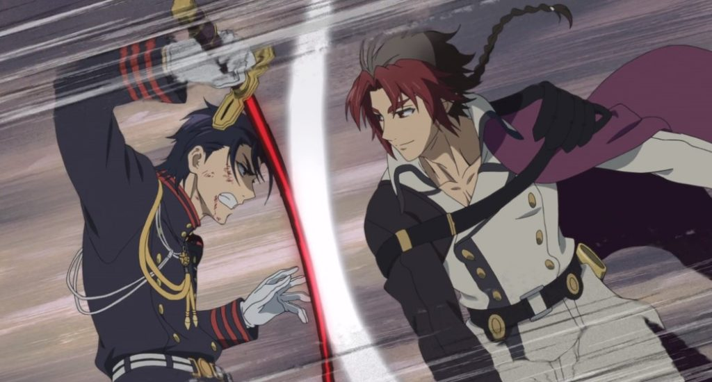 Seraph of the End Vampire Reign Guren fighting Crowley Eusford